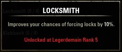 Locksmith(錠前屋)のスキルステータス