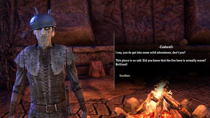 焚火が暖かくて喜ぶキャドウェル
