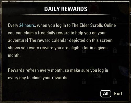 DAILY REWARDS、ログイン報酬